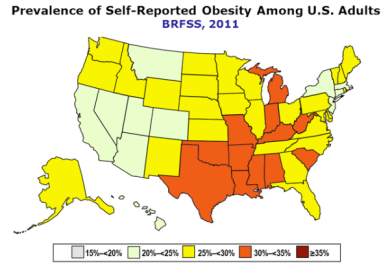 CDC, obesity, map, 2011